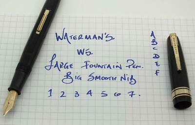 LARGE WATERMAN'S W5 BLACK/GOLD TRIM FOUNTAIN PEN. c1950