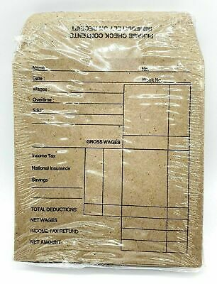 80 x Wage Packet Payslip Brown Envelopes Printed Self Seal Office 100 x 110mm