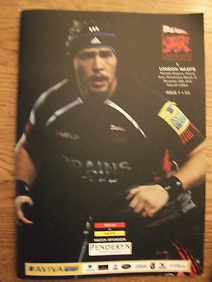 London Welsh v London Wasps - Rugby Programme Played Dec 29th  2012