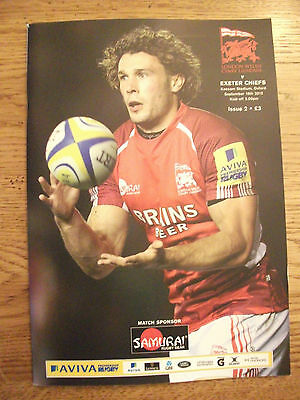 London Welsh v Exeter Chiefs - Rugby Programme Played Sept 16th 2012