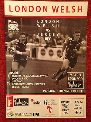London Welsh v Jersey RFC - Rugby Programme May 18th 2014 at Kassam Oxford