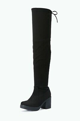Branded Black Stretch Faux Suede Thigh High Long Tie Top Platform Cleated Boots