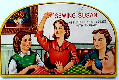 Vintage Sewing Susan Silver Eye Needle Book with Threader 1960