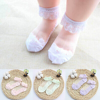 1 Pair Summer Socks Ruffled Lace Soft Cotton Girls Baby Kids Children Breathable