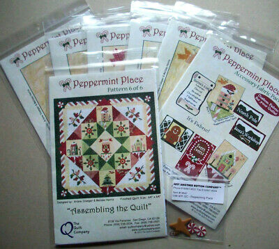 Christmas Peppermint Place applique quilt patterns with accessory fabric packet