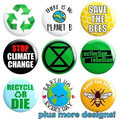Climate Change BUTTON PIN BADGE 25mm 1 INCH Various Designs Extinction Rebellion