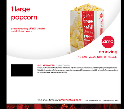 AMC Theaters - 1 Large Popcorn & 2 Large Drinks