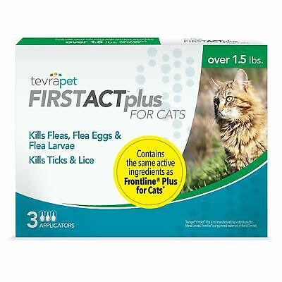 TevraPet FirstAct Plus Flea and Tick Topical for Cats over 1.5lbs, 3 Dose