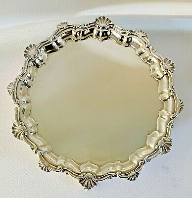 Classic Buccellati Sterling Silver Round Footed Card Tray Small Salver Seashells