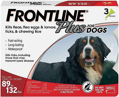 Frontline Plus for Dogs Extra Large Dog (89 to 132 pounds) Flea and Tick 3 doses