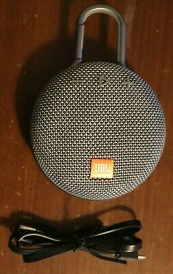 JBL Clip 3 Rechargeable Waterproof Portable Gray Bluetooth Speaker USB Cable