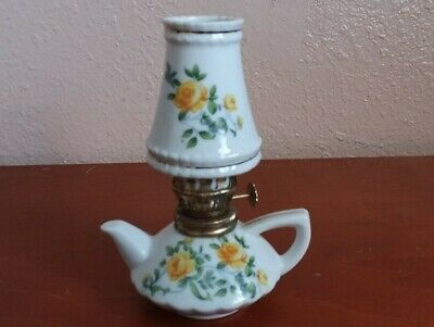 Vintage Mini Kerosene Oil Lamp Hand Painted Ceramic Teapot Design Japan