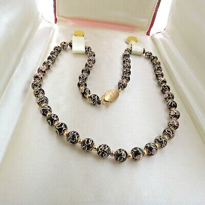 """Vintage Chinese Sterling Silver Cloisonne Enamel Bead Necklace 6 mm 16.5"""" NIB"""