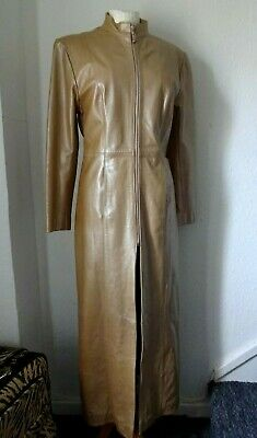 100% GOLD LEATHER COAT UK 12 / 14 Original Vintage Glam Rock - VGC 99p SALE LQQK