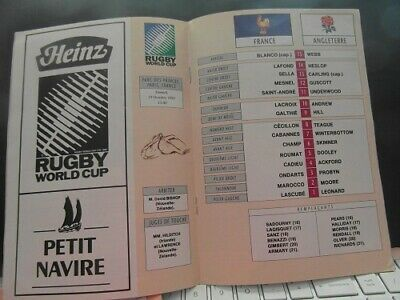 1991 World Cup Quarter Final France V England    Rugby Union Programme