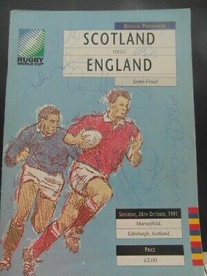 1991 World Cup Semi Final Scotland V England Signed  Rugby Union Programme