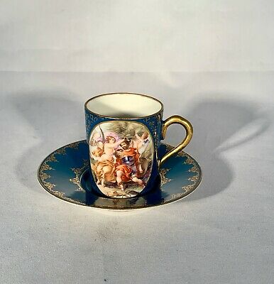 Antique Royal Vienna-Hand Painted-Porcelain Portrait-Demitasse Cup/Saucer-Angels