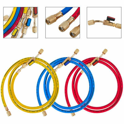 29983 Manifold Hose Set 36 Red Yellow Blue Compact Ball Valve 1/4 SAE Solid