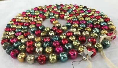 "Antique VTG Christmas Mercury Glass Large 1/2"" Bead Garland 100"" Red Blue gold"