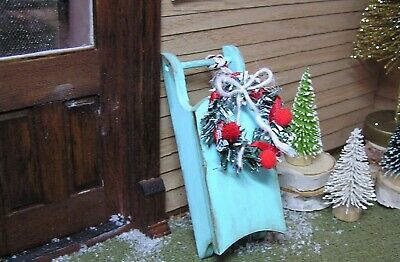 Miniature Dollhouse Furniture Sled Winter Door Decoration 1 in scale