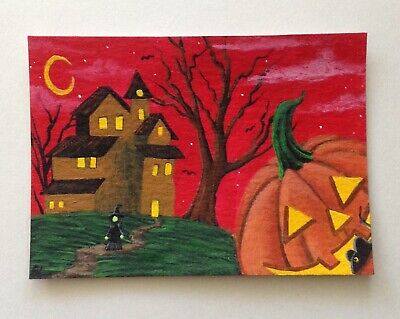 ACEO Original Halloween Acrylic Painting Witch Mansion Red Jack-o'-lantern Bats