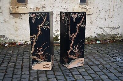 Pair Vintage 1970s Chinoiserie Carved Painted Wooden Plinth Stands