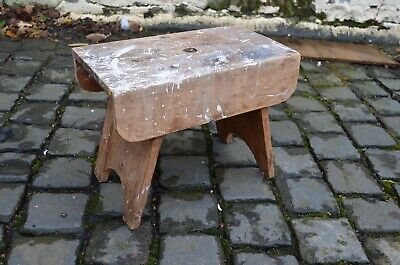 Antique Rustic Wooden Farm Milking Stool With Paint Splash Patina