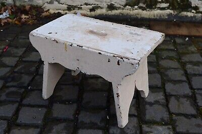 Large Painted Antique Farm Rustic Wooden Milking Stool