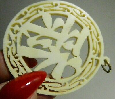 Chinese Symbol for PROSPERITY Round Finely Carved Yak Bone Pendant Vintage