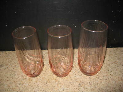 Set Of 3 Vintage Pink Glass Swirl  Depression Juice Drinking Tumblers Glasses
