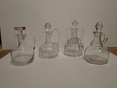 Lot Of 4 Vintage/Antique Oil/Vinegar Cruets And Stoppers