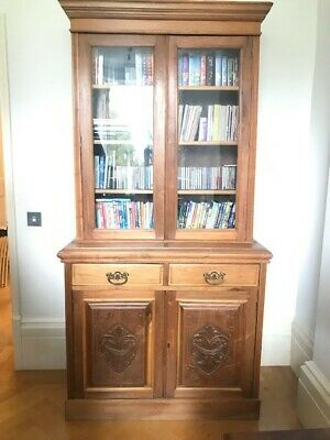 Antique tall Victorian bookcase, display cabinet  h211 x w95 x d43 cms