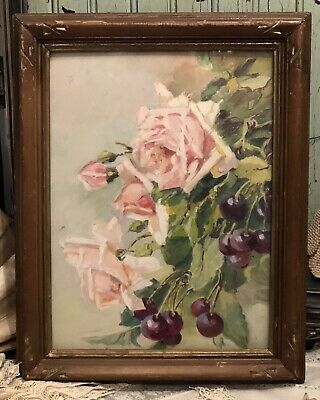Vintage Shabby Pink Chic Roses Cherries Cottage Oil Painting ~ESTATE Signed Bess