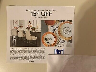 Pier 1 Imports One Coupon 15% Off Entire Purchase Coupon—expires 10/31/19