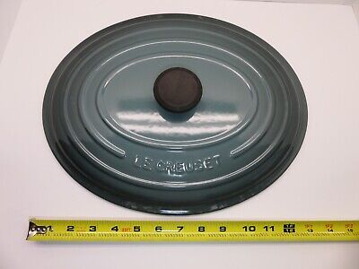 Le Creuset France Cast Iron Enamel Oval Dutch Oven LID ONLY Blue Grey No 35