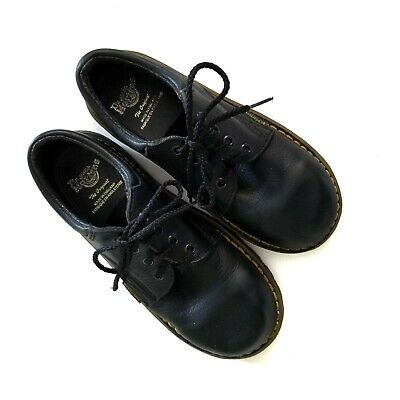 Dr Doc Martens Childrens Kids Size 12 Lace Up Black Shoes Made In England *READ*