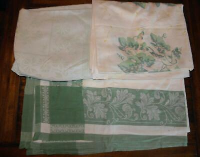Lot of 3 Vintage Tablecloths White and Green Prints
