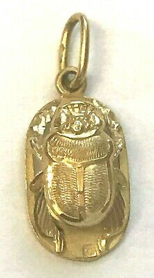 22k Yellow Gold Scarab Beetle Pendant 3/8 Of An Inch Wide 7/8 Inch Long 1.6 gram