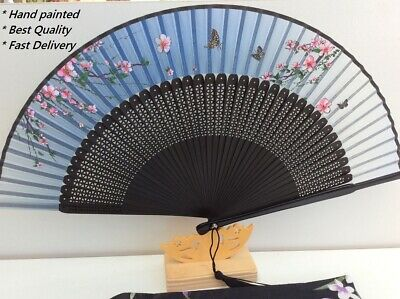 Japanese Silk Hand Fan - Hand painted best quality with Silk Fan Holder DSF002
