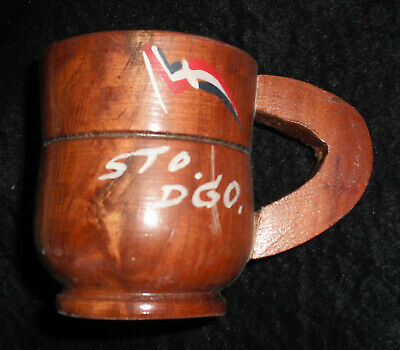 Vintage 1960's SANTO DOMINGO HAND CARVED/PAINTED WOODEN CUP Dominican Republic
