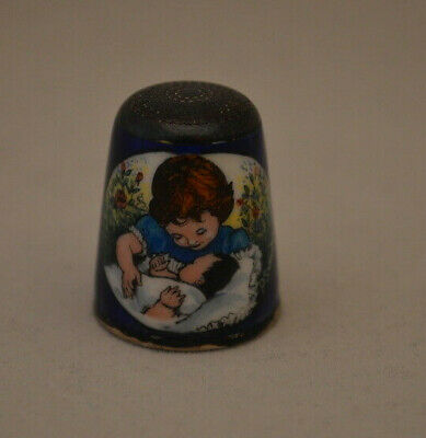 Sterling Silver 1978 Handpainted Mother Child with Infant Thimble - P. Swingler