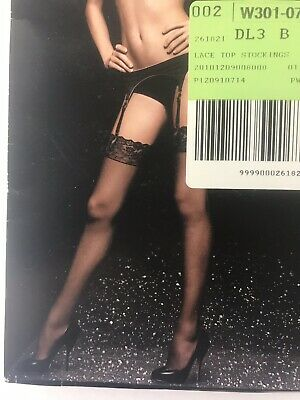 Victorias Secret Lace Top Thigh High Hose Stockings Black Size B New bn