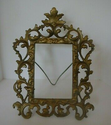 Antique Cast Iron Gilded Gold Ornate Victorian Standing Picture Frame - no glass