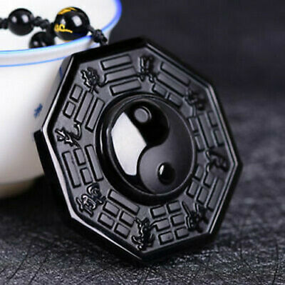 Natural Obsidian Hand Carved Yin Yang TaiChi Gossip Pendant AAA