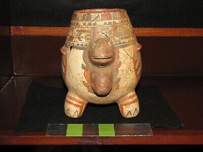 Pre Columbian, Tested, Pottery, Costa Rican, Nicoya, Tripod Rattle Vessel, + 200