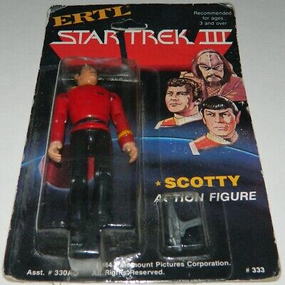 """Star Trek III Search For Spock Movie Scotty ERTL 4"""" Action Figure MOC ROUGH CARD"""