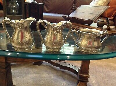 Antique Meriden Britannia Co Silverplate 3-Piece Tea Set #1470 Floral Etched