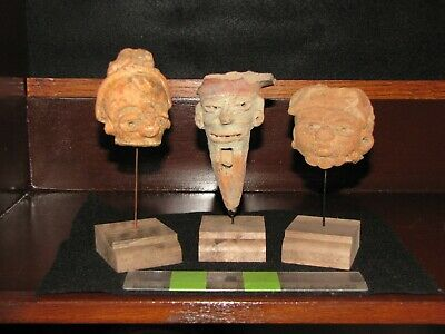 Pre Columbian, Pottery, Meso American, Three Authentic Mounted Shards, +300 900