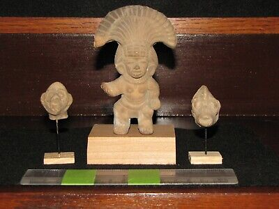 Pre Columbian, Pottery, Teotihuacan, Three Mounted Figure/Shards, E/L/C +300 900