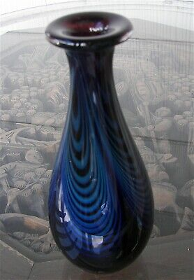 """Vintage Signed Blown Art Glass 7"""" Vase Pulled Feather Dark Blue Williams '89"""